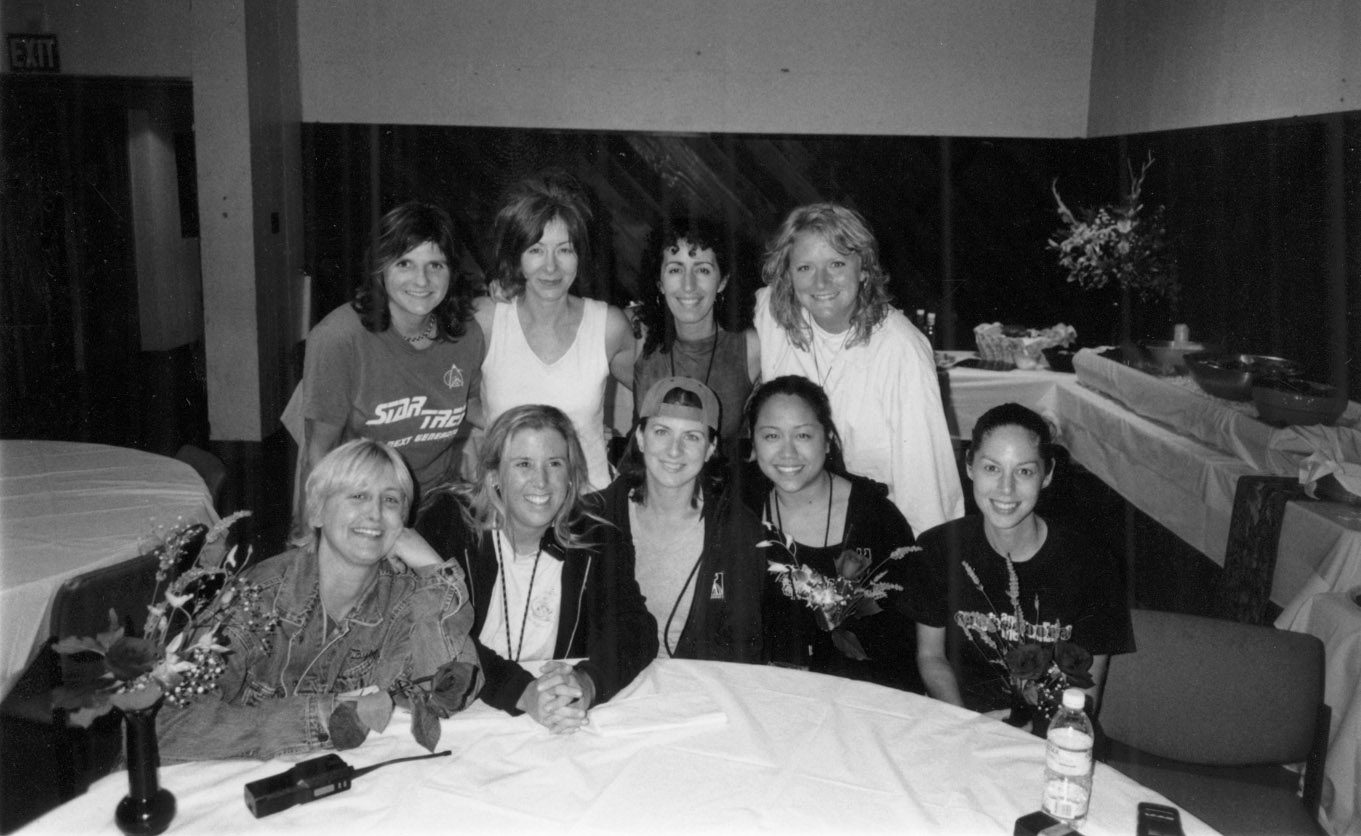 Michelle and the women of Indigo Girls band and crew circa 2002