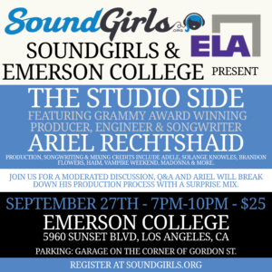 The Studio Side – Ariel Rechtshaid – Feat Grammy Award Winning Producer/ Engineer/ Songwriter @ Emerson College | Los Angeles | California | United States